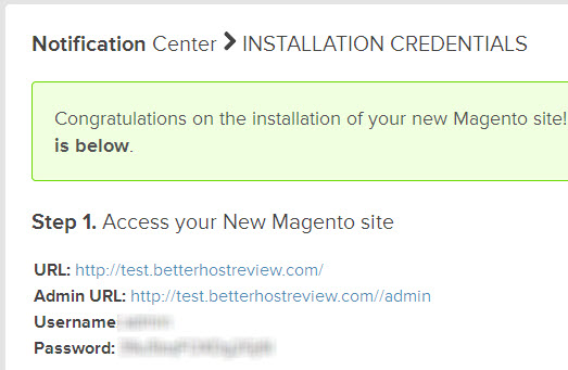 magento site auto installation credentials