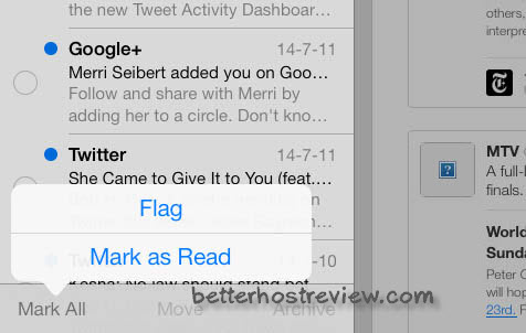 mark all emails as read on ipad