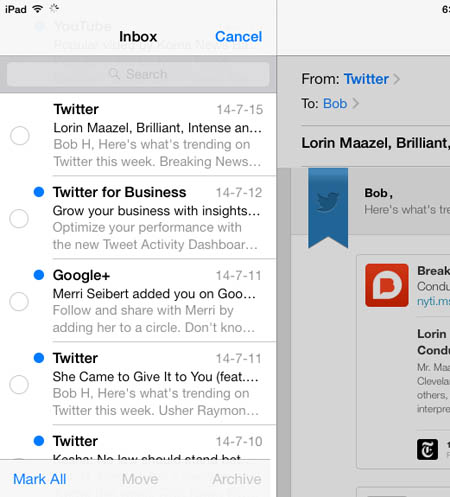 mark all emails on ipad