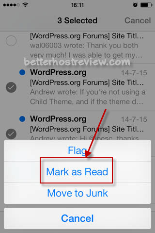 mark multiple emails as read or unread on iphone