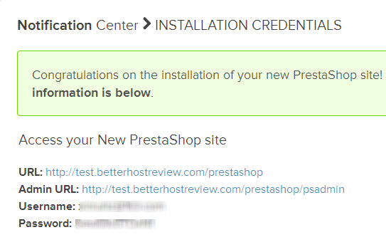 prestashop auto install credentials
