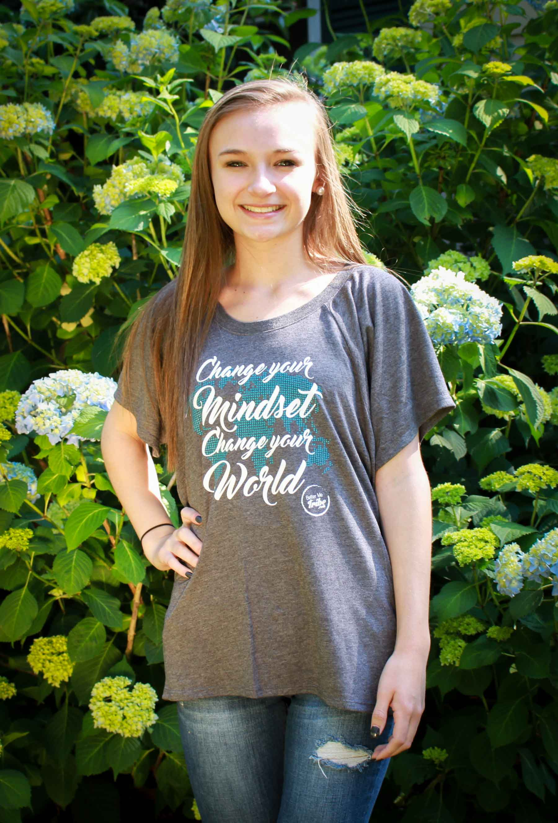 Change your Mindset Flowy T in Gray