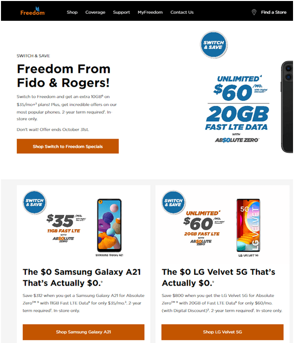 Best Freedom Mobile 5G Mobile Plans in Canada