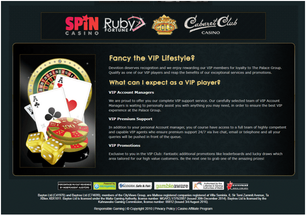 Loyalty program for Canadians at Ruby Fortune Online Casino