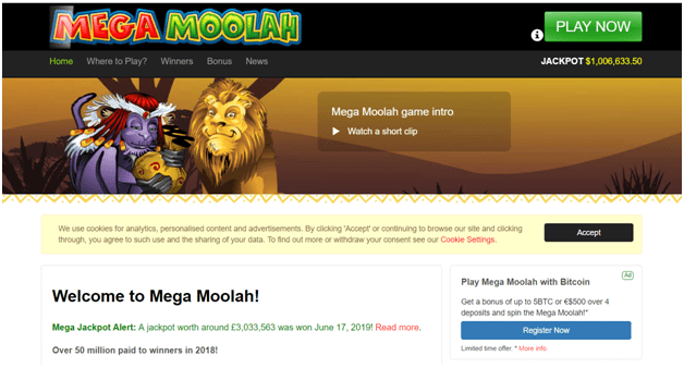 Mega Moolah Official site to play Mega Moolah slots in CAD