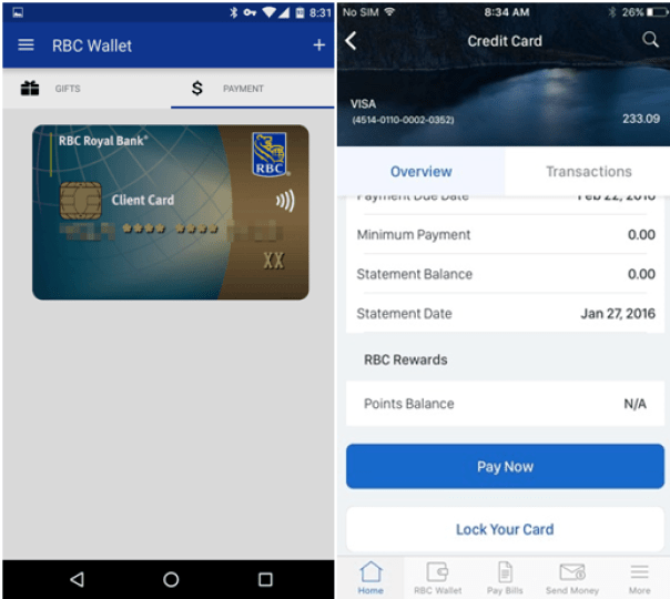 RBC credit cards- How to lock them