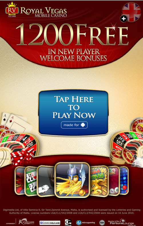 Royal Vegas Casino Mobile bonus