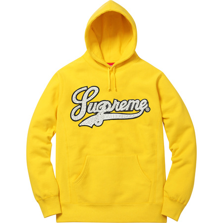 Studded Leather Script Hooded Sweatshirt (Yellow)