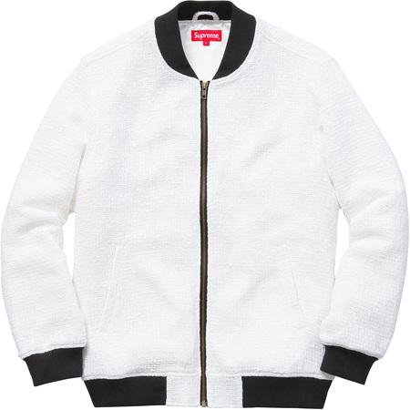 Bouclé Varsity Jacket (White)