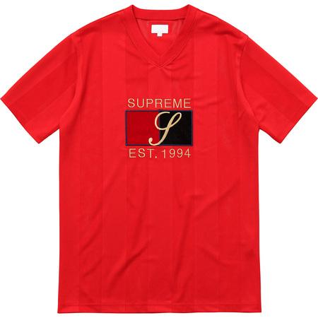 Velvet Logo Mesh Stripe Top (Red)
