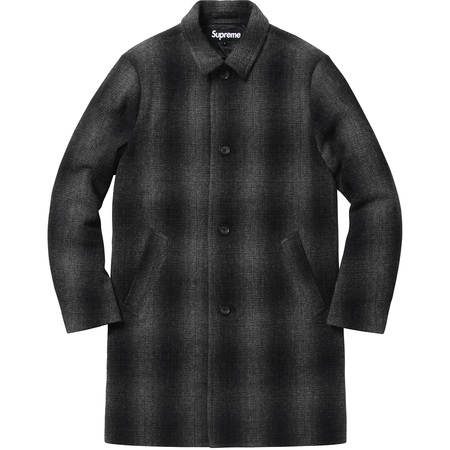 Shadow Plaid Wool Overcoat (Black)