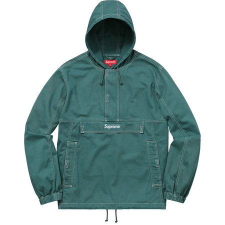 Contrast Stitch Twill Pullover (Teal)