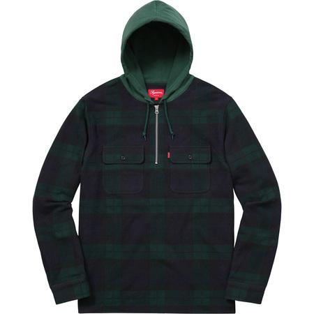 Hooded Plaid Half Zip Shirt (Navy)