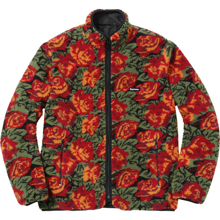 Roses Sherpa Fleece Reversible Jacket (Red)