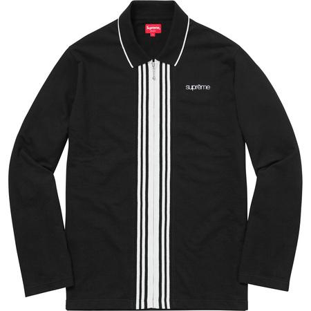 Vertical Zip Up L/S Polo (Black)