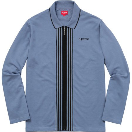 Vertical Zip Up L/S Polo (Blue)