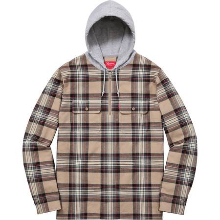 Hooded Plaid Half Zip Shirt (Tan)