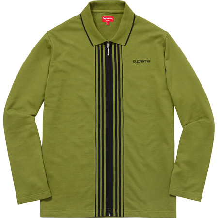 Vertical Zip Up L/S Polo (Olive)