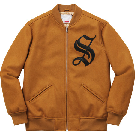 Old English Zip Varsity Jacket (Dark Gold)