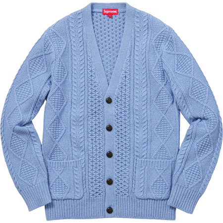 Cable Knit Cardigan (Light Blue)