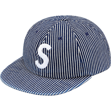 Washed Denim S Logo 6-Panel (Blue Stripe)