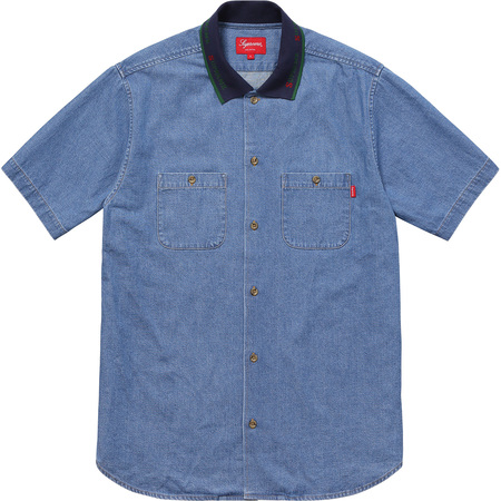 Rib Collar S/S Denim Shirt (Blue)