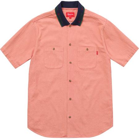 Rib Collar S/S Denim Shirt (Peach)