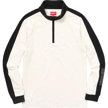Sleeve Stripe L/S Half Zip Top (Off White)