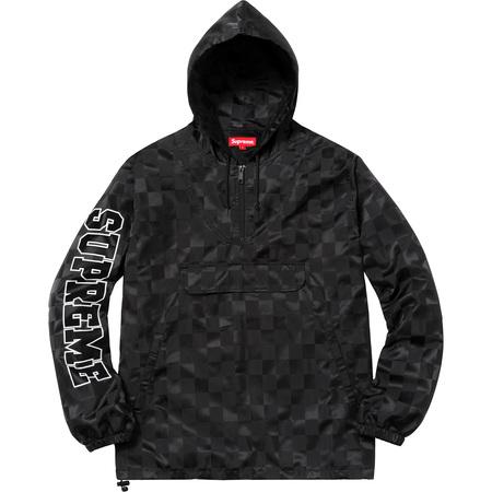 Checkered Nylon Hooded Pullover (Black)
