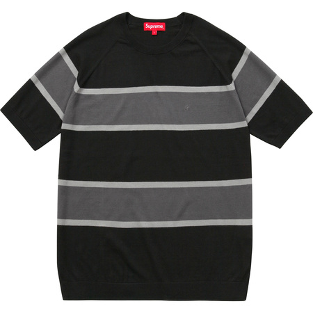 Knit Stripe S/S Raglan Top (Black)