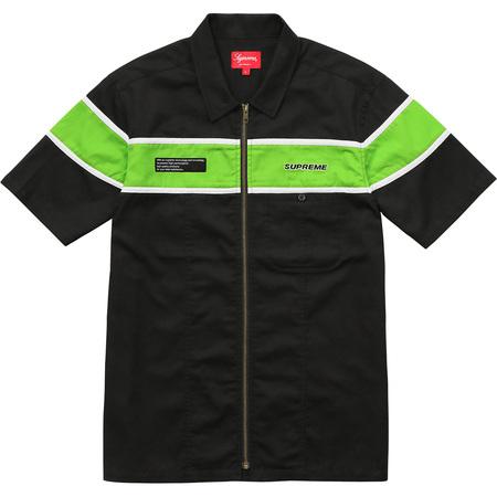 S/S Zip Up Work Shirt (Black)
