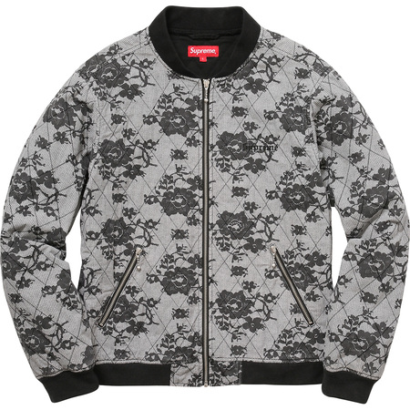Quilted Lace Bomber Jacket (White)