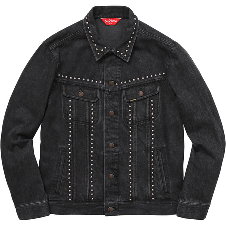 Studded Denim Trucker Jacket (Black)