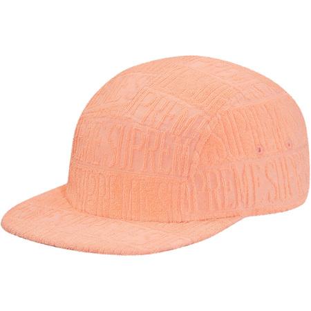 Text Stripe Terry Camp Cap (Peach)