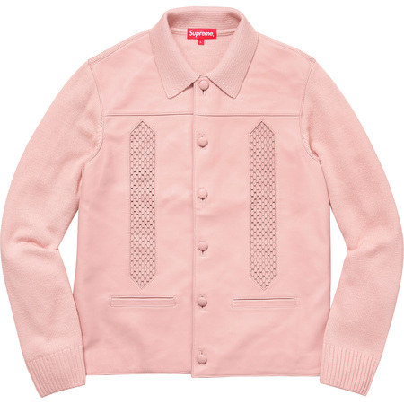 Leather Front Polo Sweater (Dusty Pink)