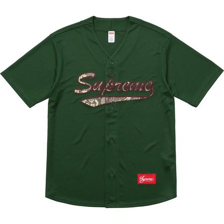 Snake Script Logo Baseball Jersey (Dark Green)