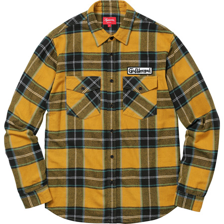 God Bless Plaid Flannel Shirt (Gold)