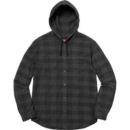 Hooded Buffalo Plaid Flannel Shirt (Black)