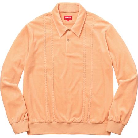 Velour L/S Polo (Peach)