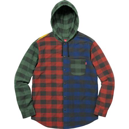 Hooded Buffalo Plaid Flannel Shirt (Multicolor)