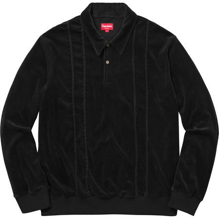 Velour L/S Polo (Black)