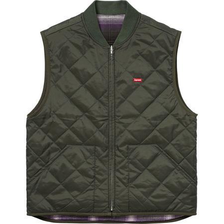 Reversible Shadow Plaid Vest (Dark Green)