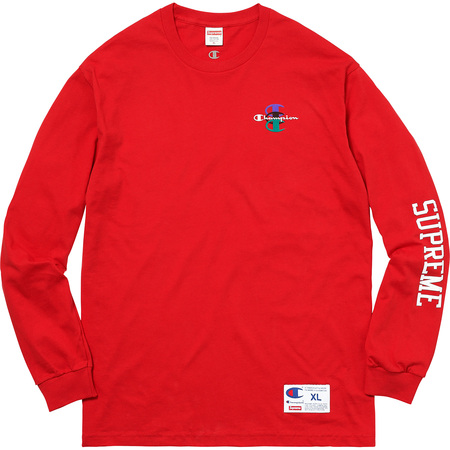 Supreme®/Champion® Stacked C L/S Tee (Red)