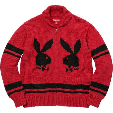 Supreme®/Playboy© Shawl Collar Full Zip Sweater (Red)