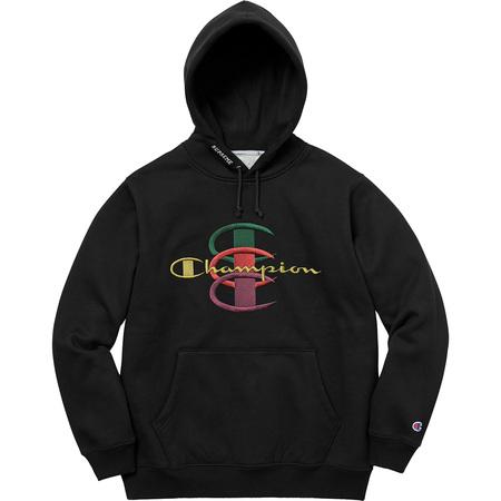 Supreme®/Champion® Stacked C Hooded Sweatshirt (Black)