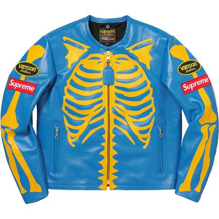 Supreme®/Vanson® Leather Bones Jacket (Blue)