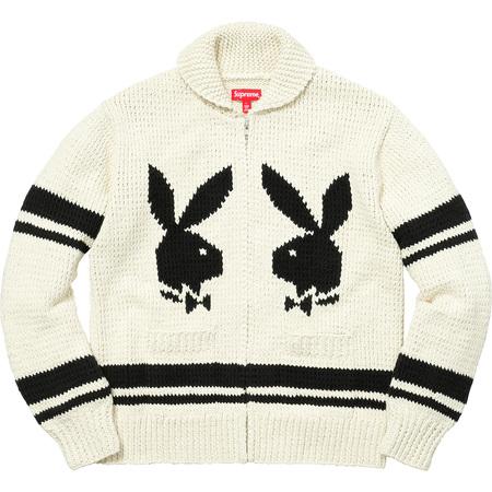 Supreme®/Playboy© Shawl Collar Full Zip Sweater (Natural)