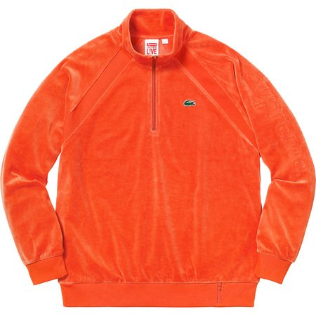 Supreme®/LACOSTE Velour Half-Zip Track Top (Orange)