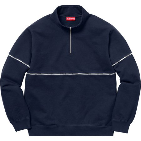 Logo Piping Half Zip Sweatshirt (Navy)
