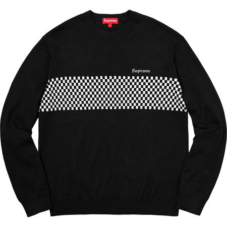Checkered Panel Crewneck Sweater (Black)